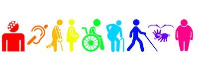 Imagem contendo 9 referências de limitações pessoais: surdez, usuário de muletas, grávida, cadeirante, idoso, deficiente visual, libras e obeso