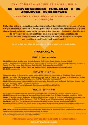 Card Evento - XXXI Jornada Arquivística da UNIRIO