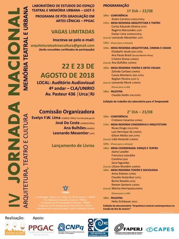 Cartaz da IV Jornada Nacional Arquitetura, Teatro e Cultura