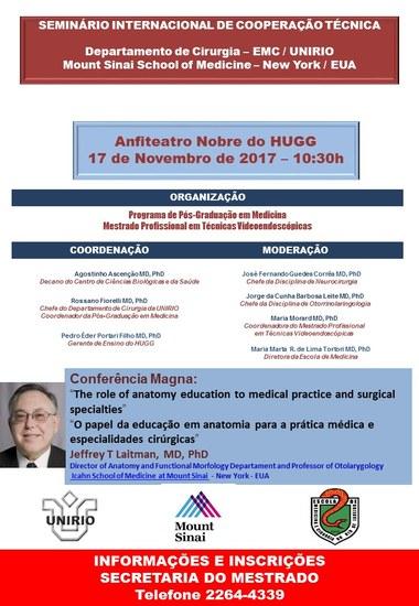Cartaz com informações sobre a conferência internacional