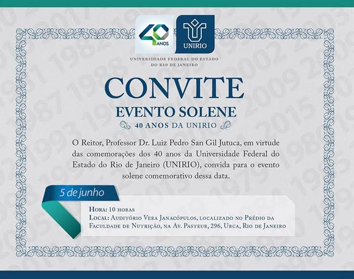 Convite evento 40 anos da UNIRIO