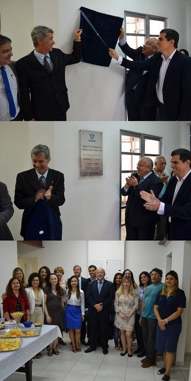 Três momentos da inauguração, com o descerramento da placa e foto de membros da gestão e equipe do Arquivo (Fotos: Comso)