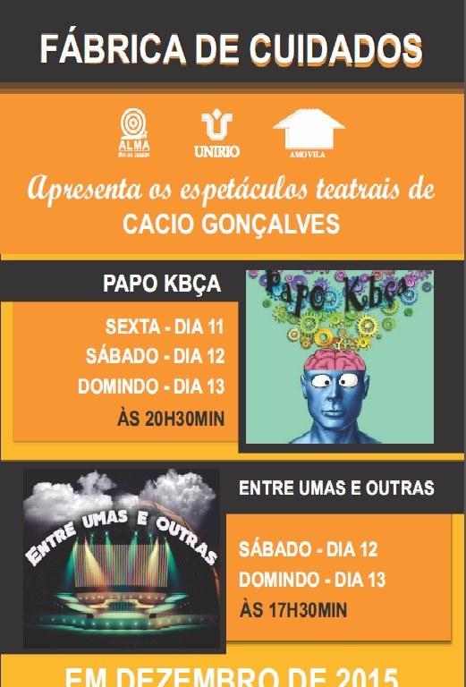 Panfleto dos espetáculos 'Papo Kbça' e 'Entre Umas e Outras'