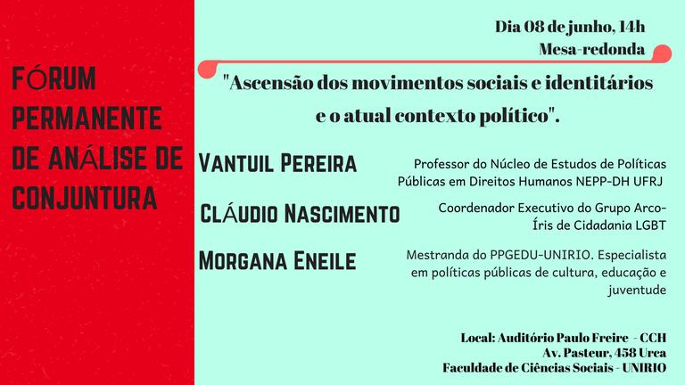 Cartaz mesa redonda sobre movimentos sociais e identitários