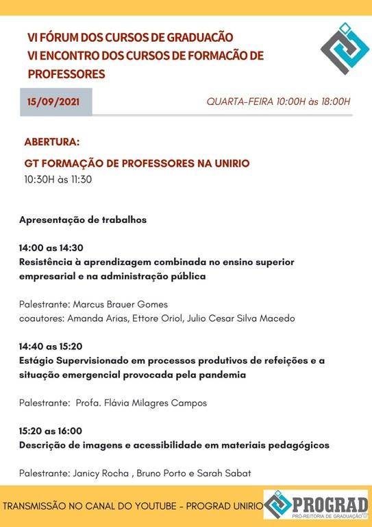 Programação Fórum de Cursos de Graduação 2021 - dia 1