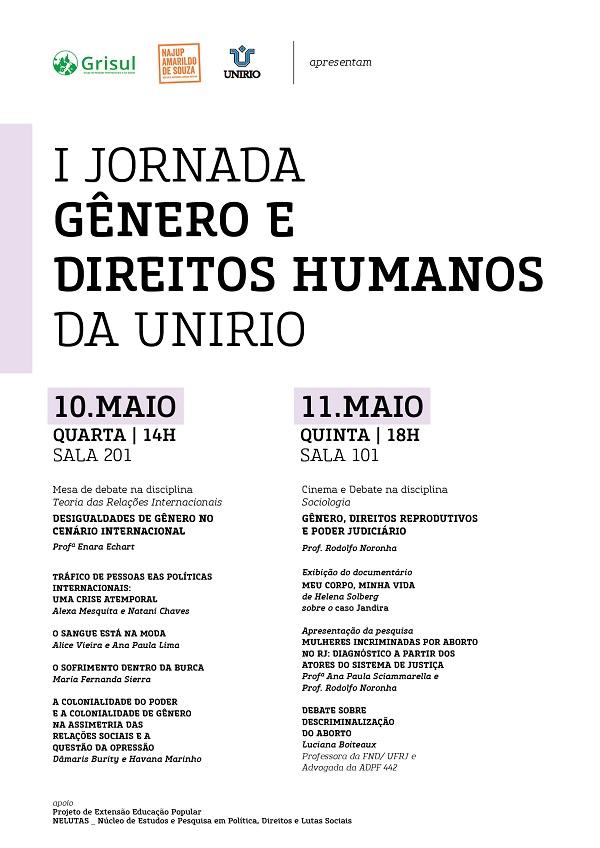 Programação I Jornada Gênero e Direitos Humanos da UNIRIO
