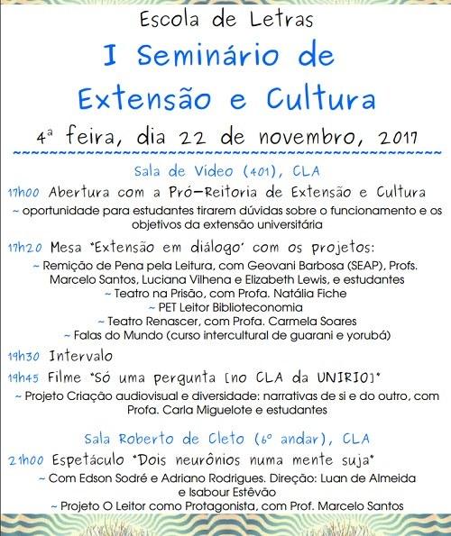 I Seminário de Extensão e Cultura do do Curso de Letras