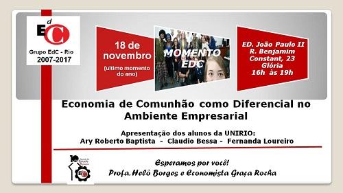 Grupo de Pesquisa Produção e Economia de Comunhão promove neste sábado seu último encontro do ano