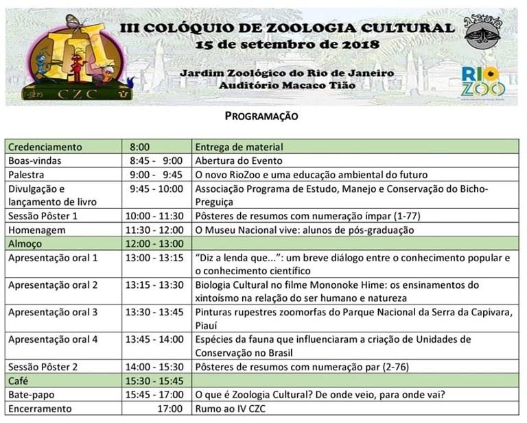 Programação do III Colóquio de Zoologia Cultural