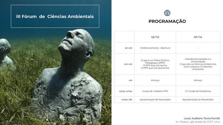 Programação III Fórum Ciências Ambientais