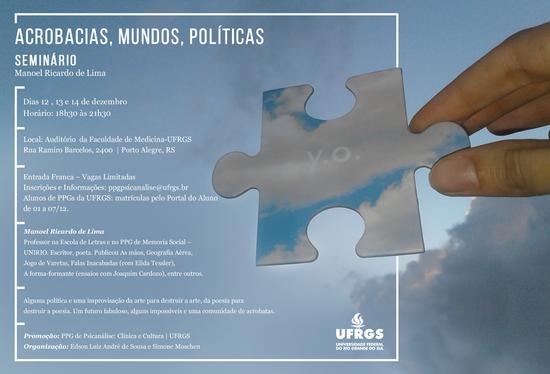 Imagem com informações sobre o seminário, sob fundo com céu, nuvens e dedos segurando uma peça de quebra-cabeças em que se inscreve y.o.