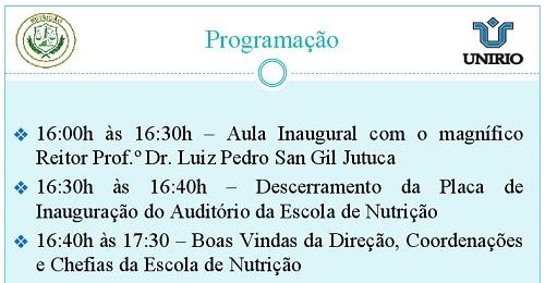 Programação da Inauguração auditório Escola de Nutrição