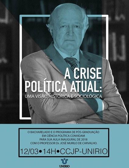 Cartaz com imagem do professor José Murilo de Carvalho e informações sobre a palestra