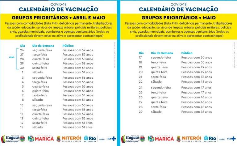 Calendário vacinação Covid-19 abril maio 21