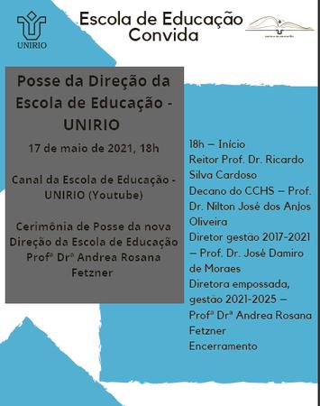 Convite posse direção Escola de Educação 2021-2025