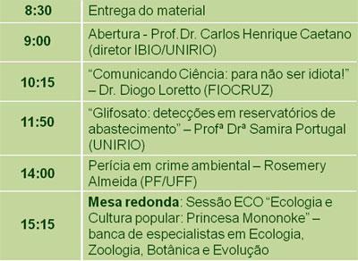 Programação do 1º Ciclo de Palestras da Biologia