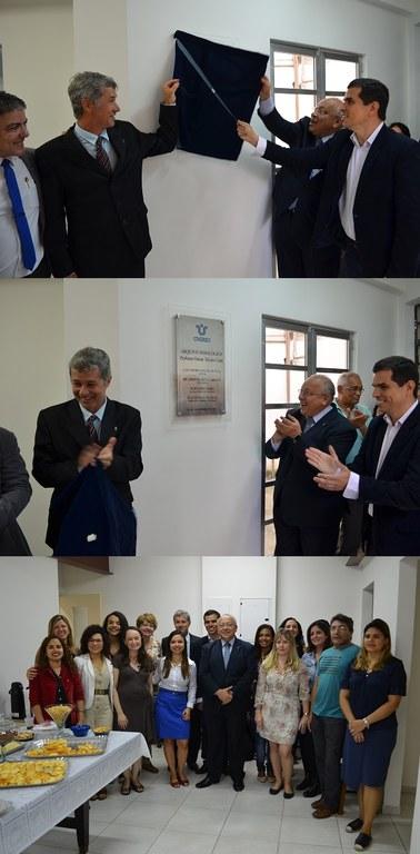 Dois momentos do descerramento da placa de inauguração e reunião da equipe do Arquivo com Luiz Pedro Jutuca, Ricardo Cardoso e Flávio Leal (Fotos: Comso)