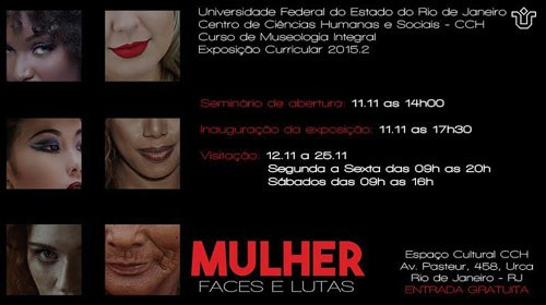 """Exposição """"Mulher – Faces e Lutas"""" (Divulgação: Escola de Museologia)"""