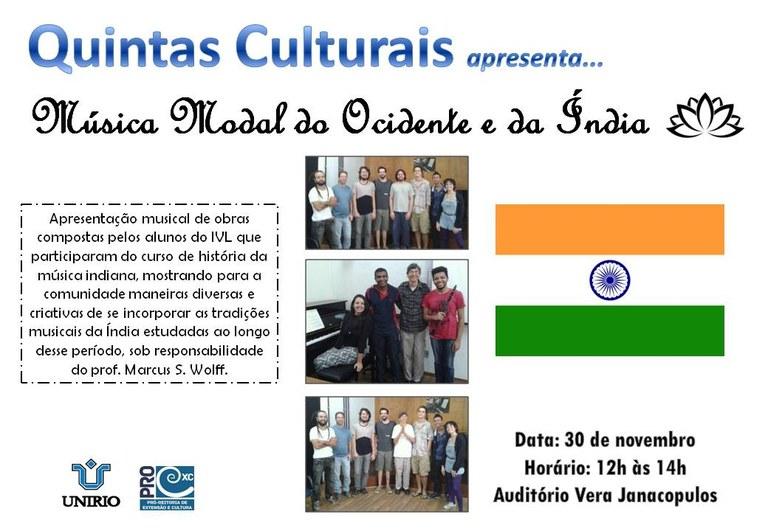 Estudantes do Instituto Villa-Lobos (IVL) que participaram do curso de história da música indiana apresentarão composições próprias (Imagem: Divulgação)