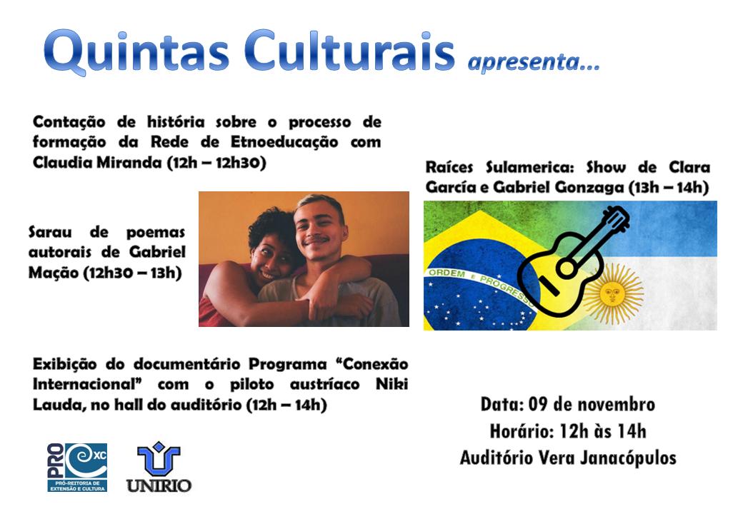 Projeto Quintas Culturais é desenvolvido pela Pró-reitoria de Extensão e Cultura (Imagem: Divulgação)