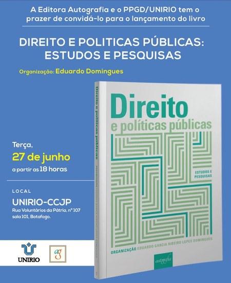 Imagem do convite para o lançamento do livro Direito e Políticas públicas, com informações sobre o evento e reprodução da capa da obra