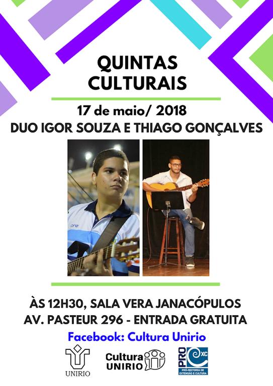 Cartaz Quintas Culturais Duo Igor Souza e Thiago Gonçalves
