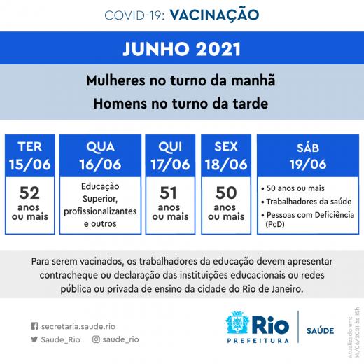 Cronograma vacinação 16 de junho