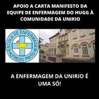 APOIO A CARTA MANIFESTO DA EQUIPE DE ENFERMAGEM DO HUGG À COMUNIDADE DA UNIRIO
