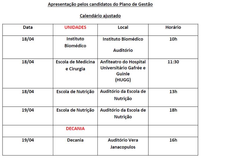 Calendário Debates eleições 2017