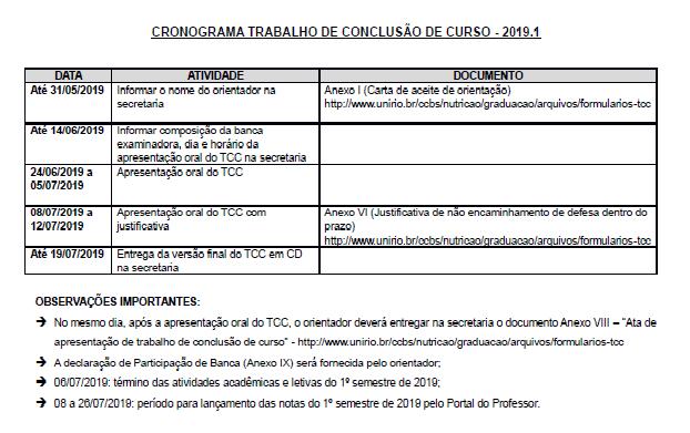 Cronograma TCC 2019.1
