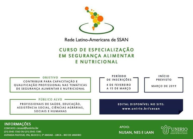 Inscrições Abertas Curso de especialização em Segurança Alimentar e Nutricional