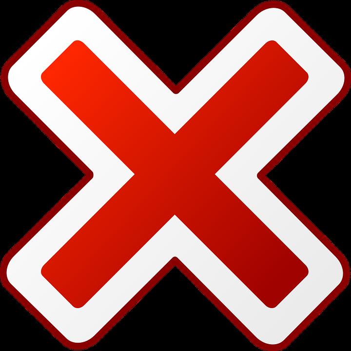 ícone X vermelho