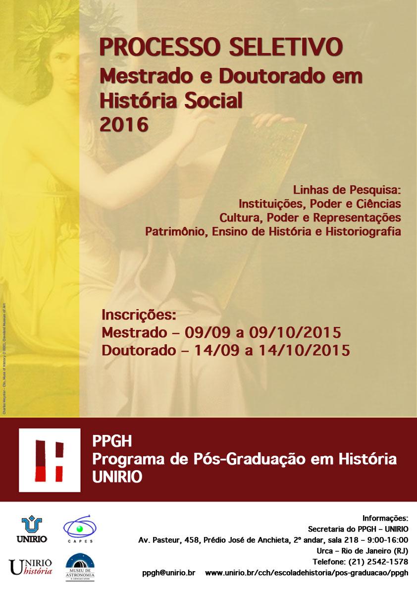 Editais PPGH 2016 - Mestrado e Doutorado