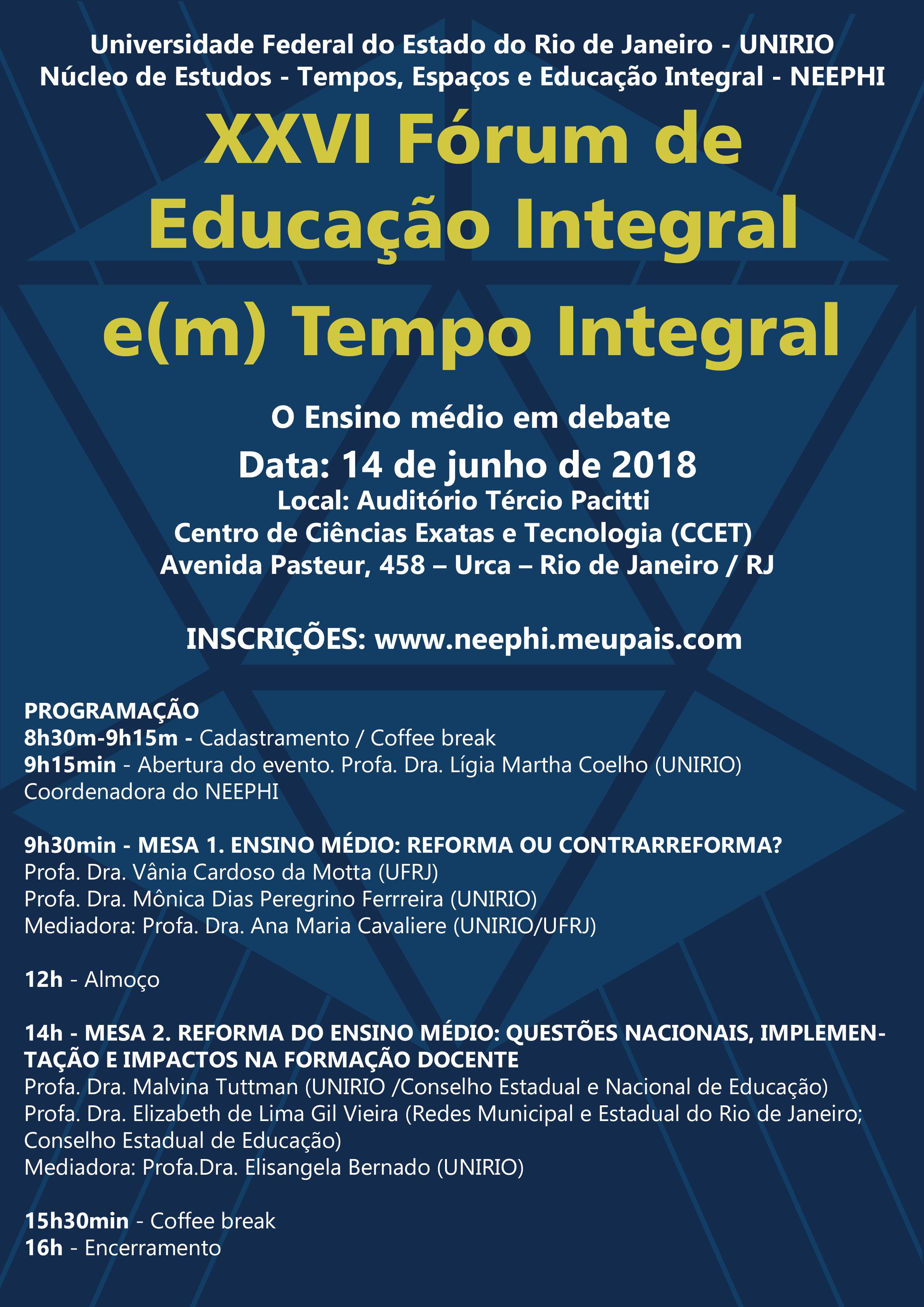 XXVI Fórum de Educação Integral e(m) Tempo Integral