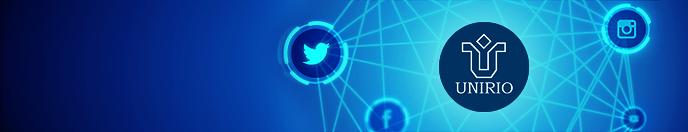 Logo UNIRIO rodeado dos ícones das Redes Sociais em fundo azul