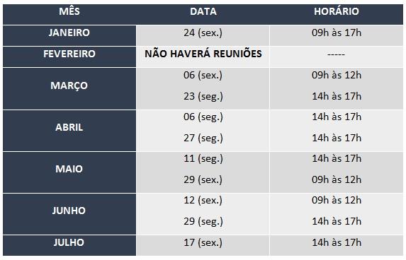 CALENDÁRIO REUNIÕES CPPD 2020.1