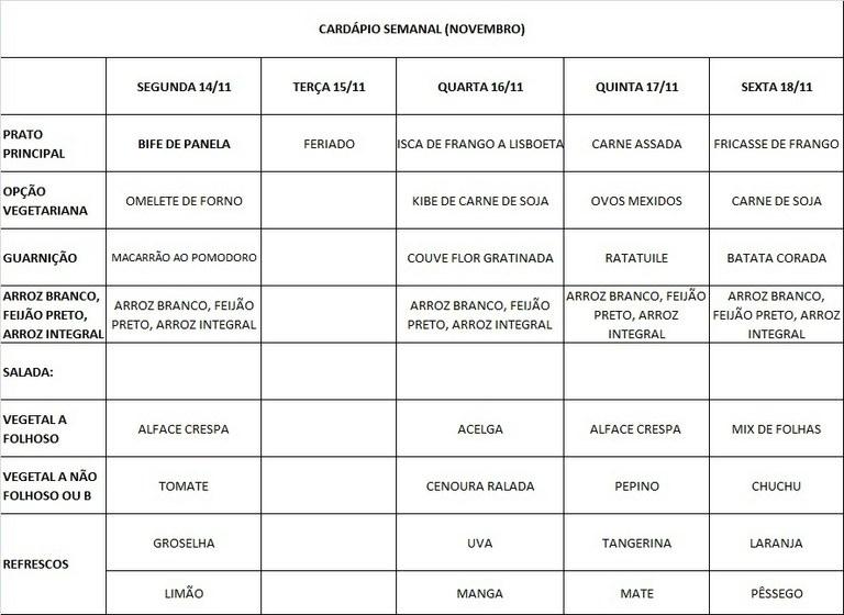 CARDÁPIO 14 A 18-11-16