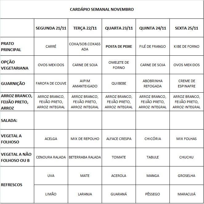 CARDÁPIO RESTAURANTE ESCOLA 21 A 25/11