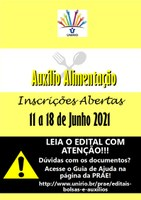 PRAE COMUNICA ABERTURA DO EDITAL AUXÍLIO ALIMENTAÇÃO 2021.1