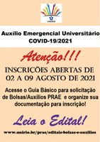 PRAE informa abertura do Edital do AUXÍLIO EMERGENCIAL UNIVERSITÁRIO COVID19 - 2021