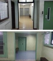 Equipes de limpeza e manutenção retiram portas de corredor no 3o, 5o e 7o andares do Bloco A