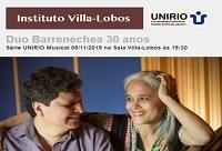 Série UNIRIO Musical promove Concerto em Comemoração aos 30 anos do Duo Barrenechea
