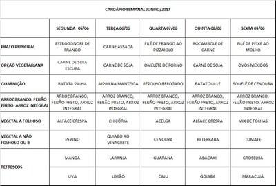 cardápio 05/06 a 09/06