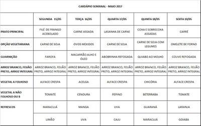 cardápio 15-05 a 19-05