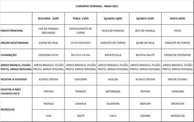 cardápio 22-05 a 26-05-17