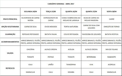 cardápio 24 a 28-04-17