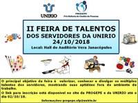 II Feira de Talentos dos Servidores da UNIRIO: inscrições prorrogadas até o dia 9 de outubro