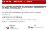 CURSO DE NOÇÕES DE DOCUMENTAÇÃO JURÍDICA